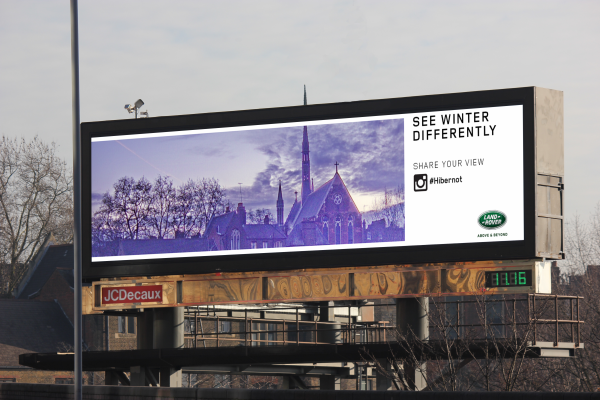 Land Rover Hibernot live Instagram feed on billboards, JCDecaux UK