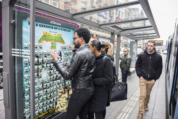 Kung Fu Panda 3 in Amsterdam bus shelter with tastes of fortune cookies, JCDecaux Netherlands, 2016