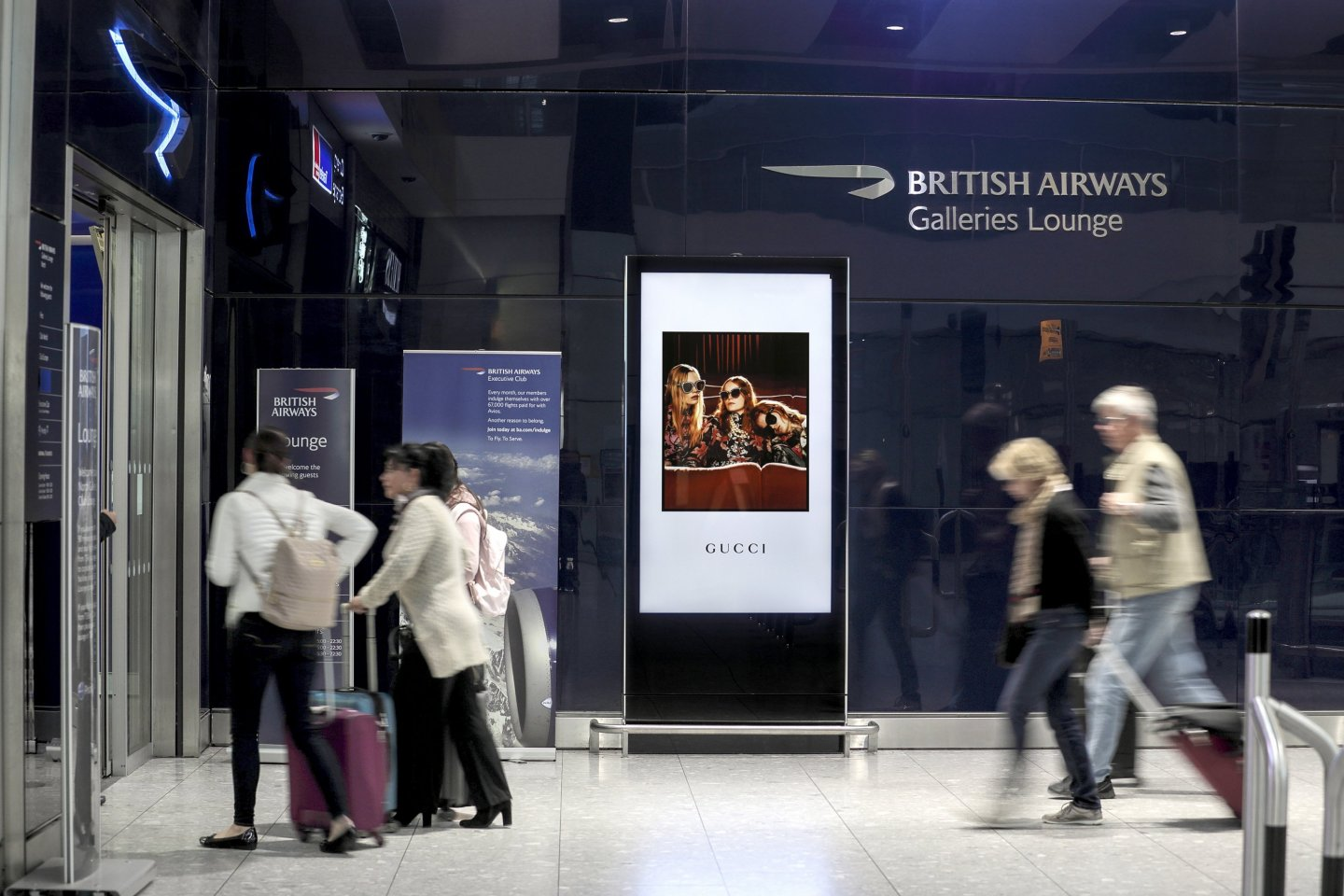 Airport Advertising 10 Reasons Why Works, Gucci, London Heathrow Business Lounge, 2018