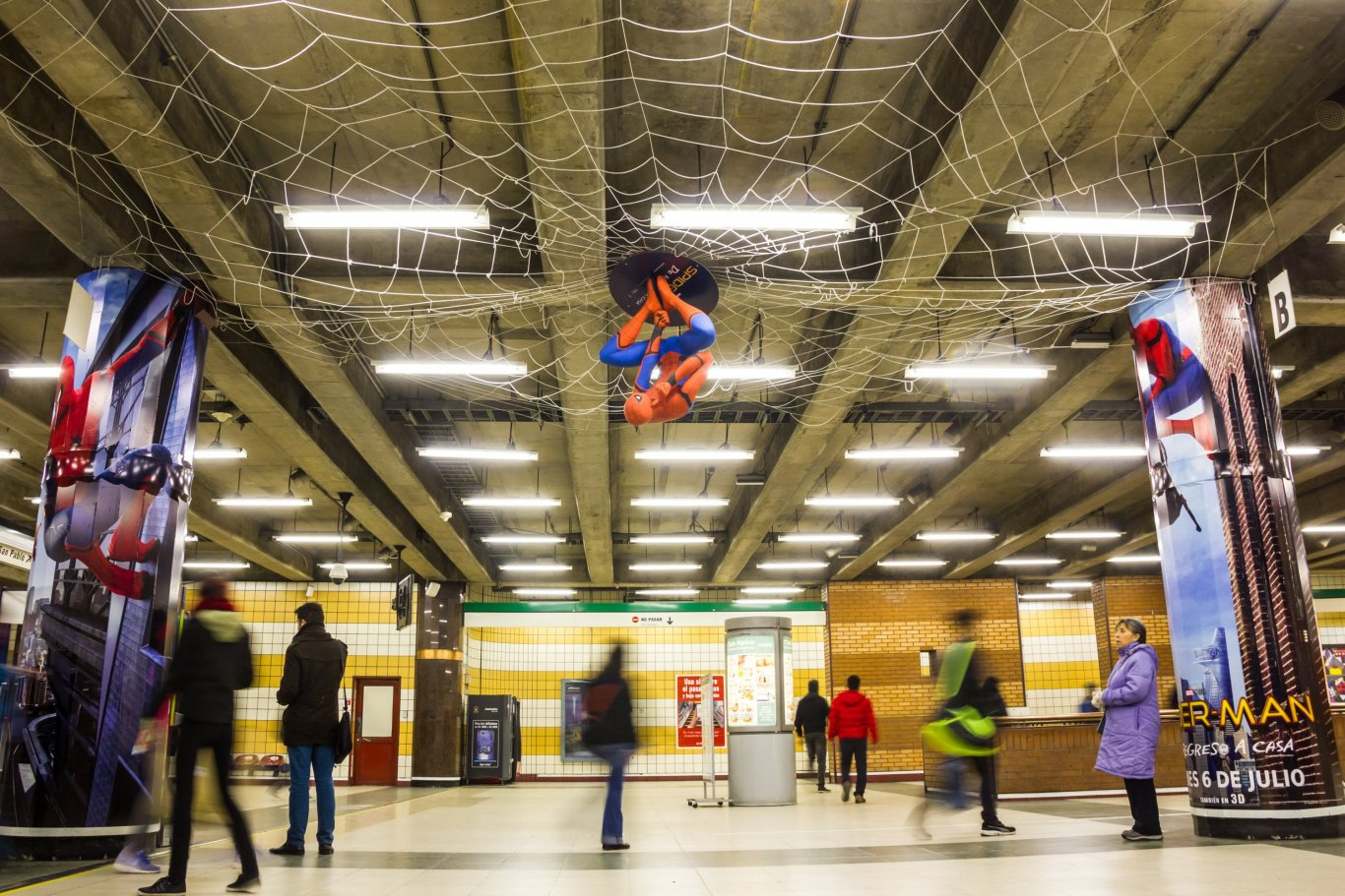 Spiderman Homecoming full station domination campaign in Santiago metro, JCDecaux Chile, Jun 2017