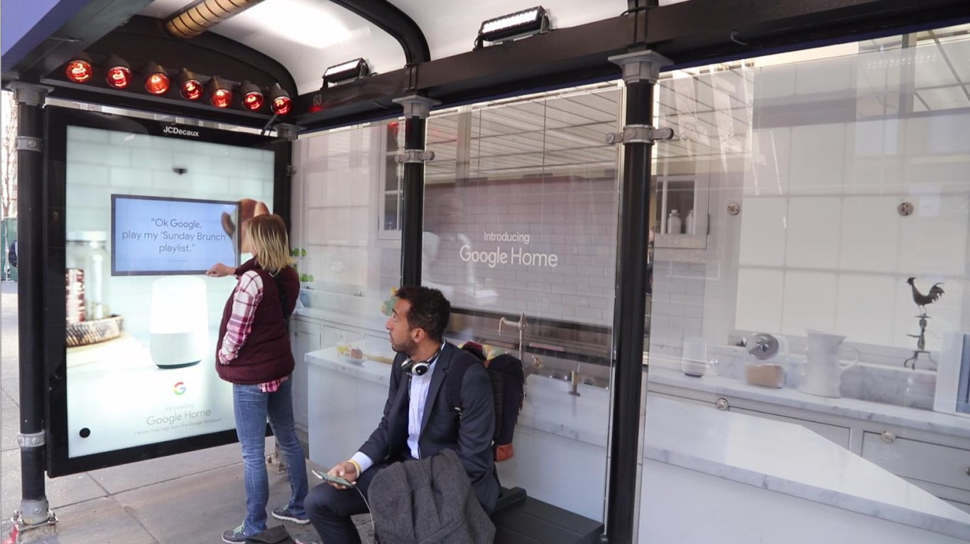 Google Home transforms bus shelters into Smart Homes, JCDecaux USA Jan 2017