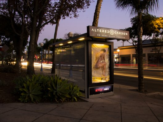 Netflix Altered Carbon breathing bus shelter billboard, LA, JCDecaux NA