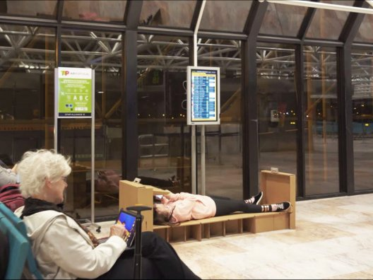 Evolution Hotel creative airport campaign provides foldout cardboard beds to airport passengers, JCDecaux Portugal and NOSSA agency