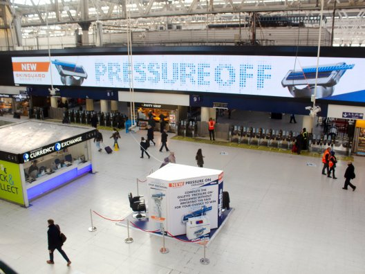 Gillette experiential campaign at London Waterloo station, JCDecaux UK, 2019-01