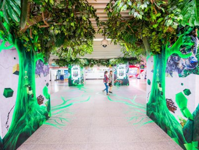 Perrier Wild domination campaign with motion sensors and custom lighting, JCDecaux China Oct 2017