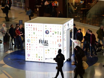 Netflix special build food cube at JFK, JCDecaux NA, 2018-11