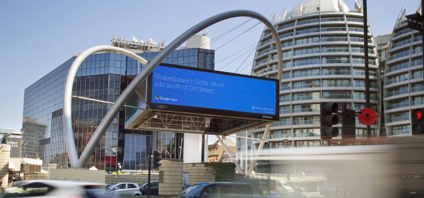 Google dynamic content at London's Old Street, JCDecaux UK