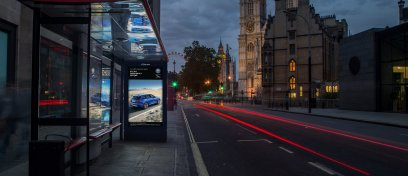 Jaguar digital bus shelter near the Westminster Abbey in London
